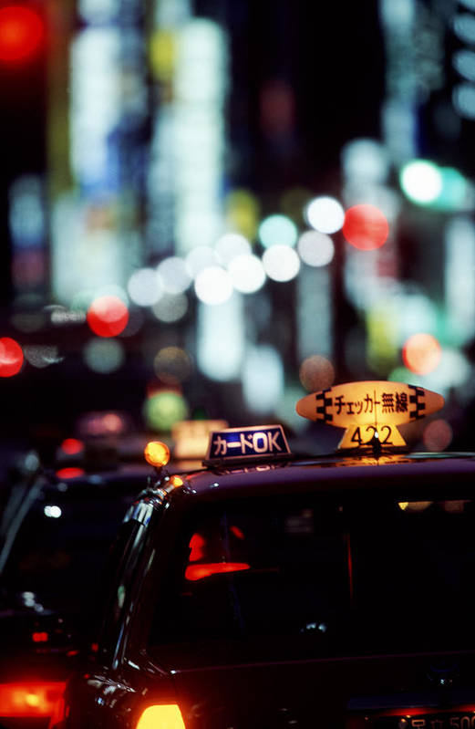 Taxi Art Print featuring the photograph Taxis On The Ginza by Brad Rickerby