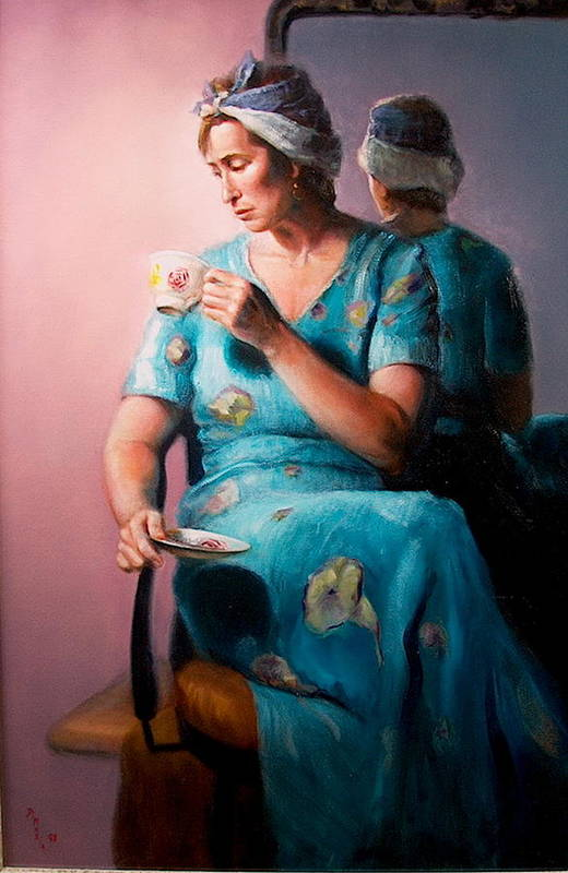 Realism Art Print featuring the painting Tea Time 1 by Donelli DiMaria