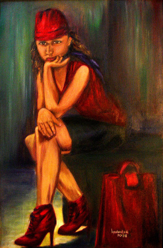 Young Woman Art Print featuring the painting Teen by Lyn Deutsch