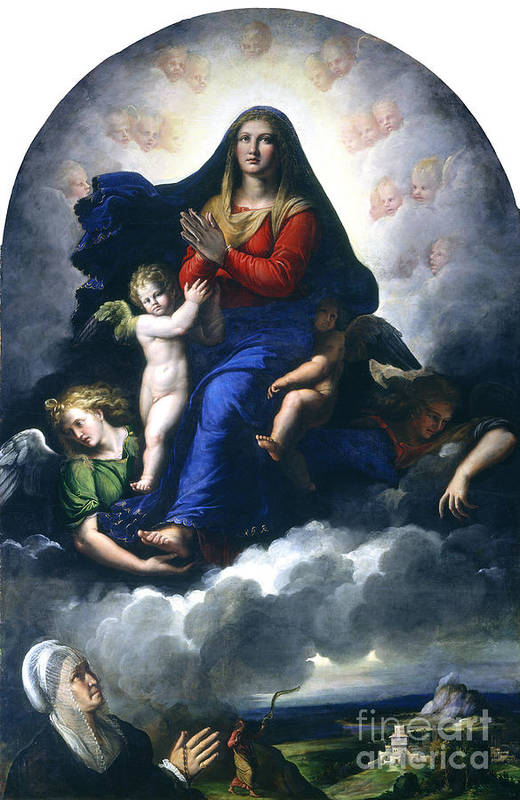 Art Print featuring the painting The Apparition Of The Virgin by Girolamo Da Carpi