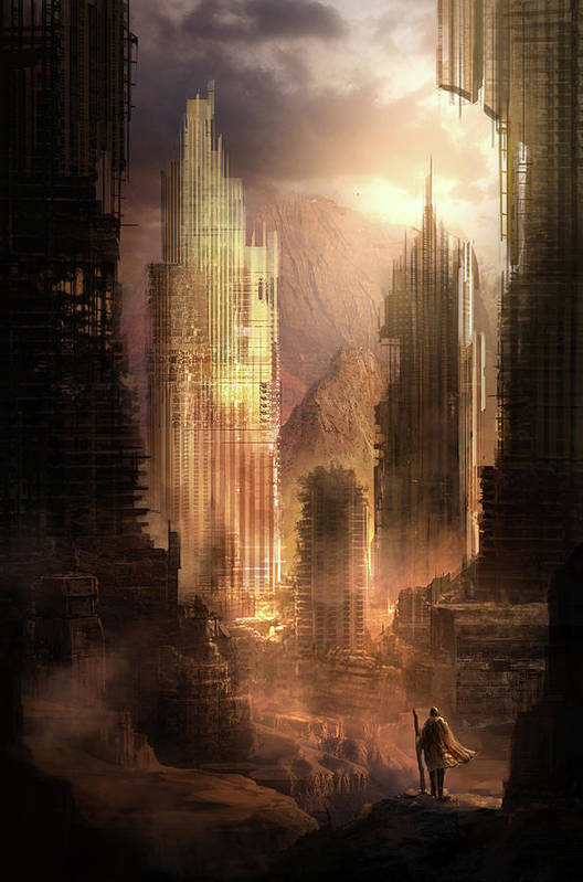 Sci-fi Art Print featuring the painting The Arrival by Philip Straub