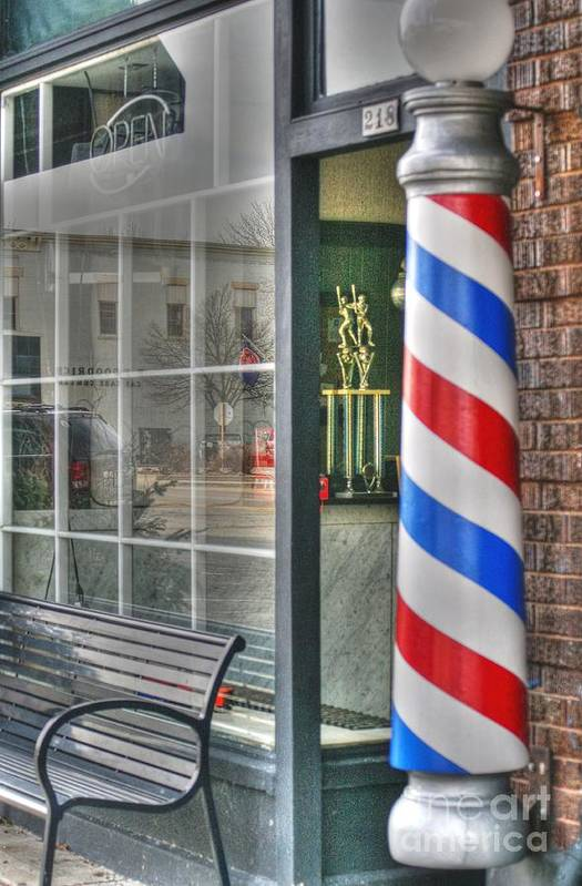 Geneva Illinois Art Print featuring the photograph The Barber Shop by David Bearden