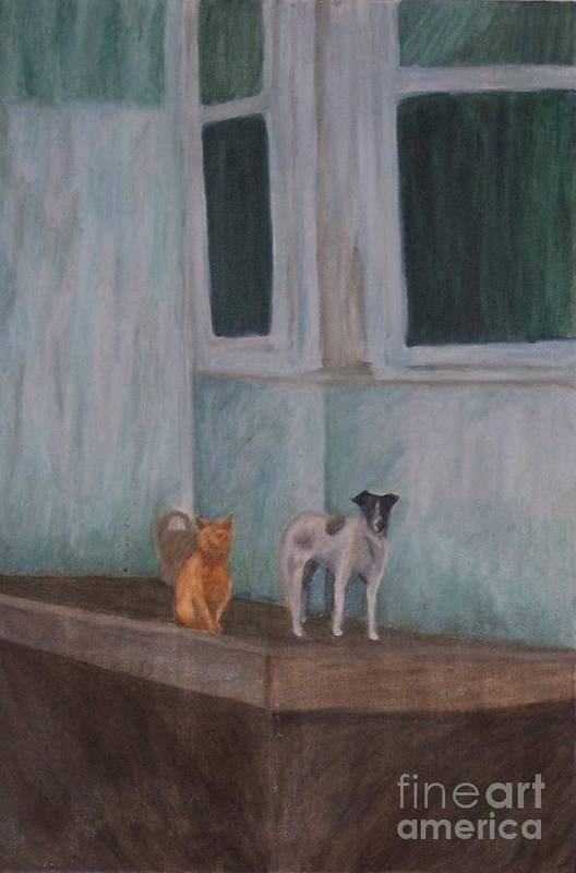 Cat Art Print featuring the painting The Beginning by Emily Young