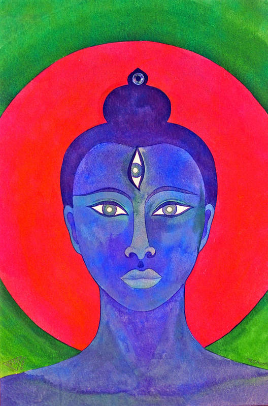 Head Of Meditation Buddha Art Print featuring the painting The Blue Buddha by Jennifer Baird