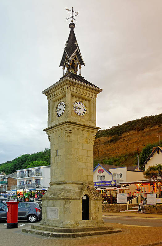 Shanklin Art Print featuring the photograph The Clock Tower At Shanklin by Rod Johnson