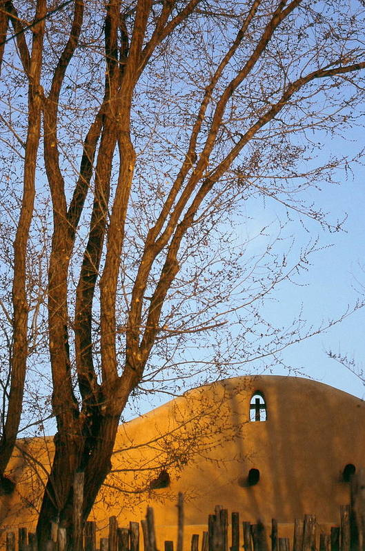 San Francisco De Taos Church With Cross And Trees Art Print featuring the photograph The Cross by Lynard Stroud
