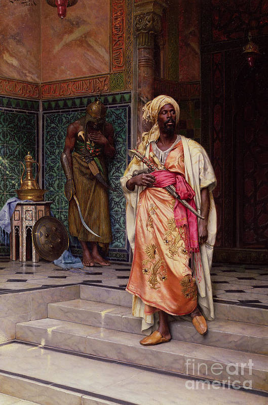 The Art Print featuring the painting The Emir by Ludwig Deutsch