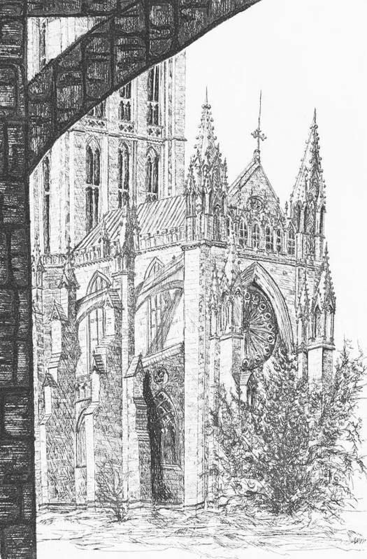 Etching Art Print featuring the drawing The National Cathedral by Victoria Shea