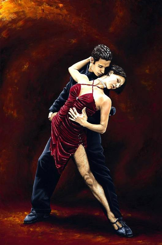 Tango Art Print featuring the painting The Passion Of Tango by Richard Young