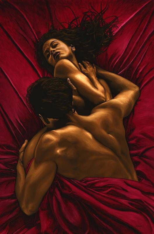Nude Print featuring the painting The Passion by Richard Young