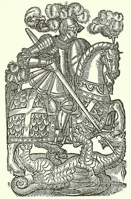 Knight Art Print featuring the drawing The Red Cross Knight by English School
