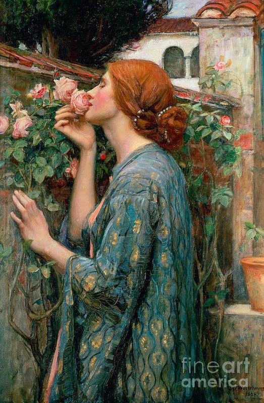 The Art Print featuring the painting The Soul Of The Rose by John William Waterhouse