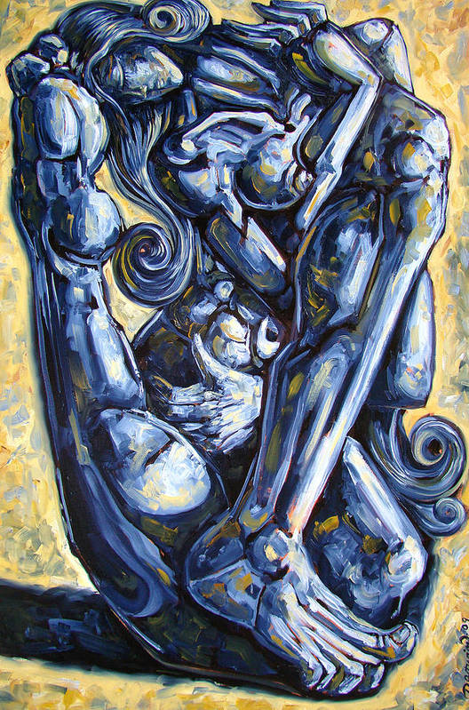 Nude Art Print featuring the painting The Struggle by Darwin Leon