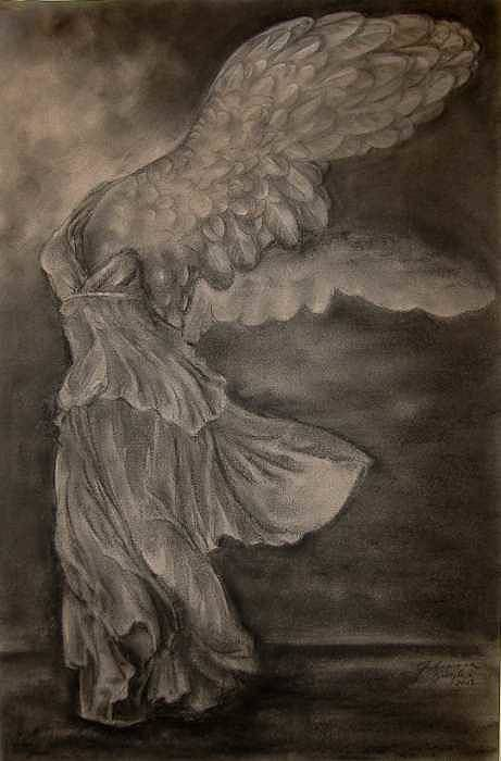Nike Art Print featuring the drawing The Victory Of Samothrace by Julianna Ziegler