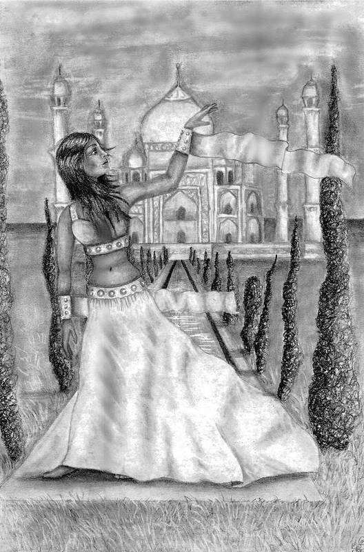 Taj Mahal Art Print featuring the drawing The View by Scarlett Royal