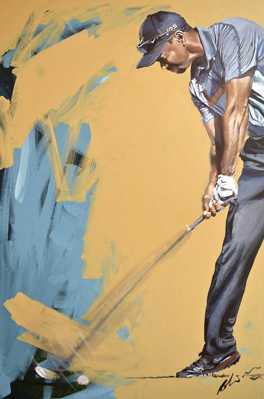 Tiger Woods Art Print featuring the painting Tiger Ddc2014 by Mark Robinson