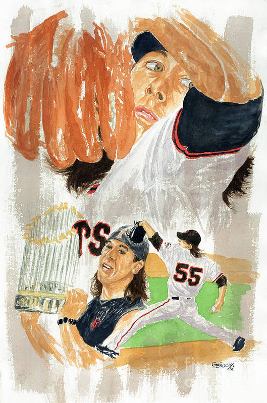 Baseball Art Print featuring the painting Tim Lincecum Study 3 by George Brooks