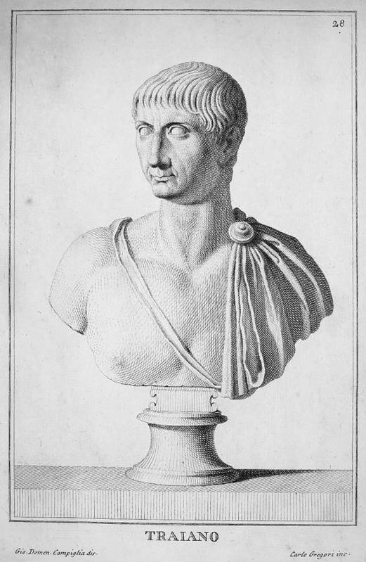 2nd Century Art Print featuring the photograph Trajan (c52-117) by Granger
