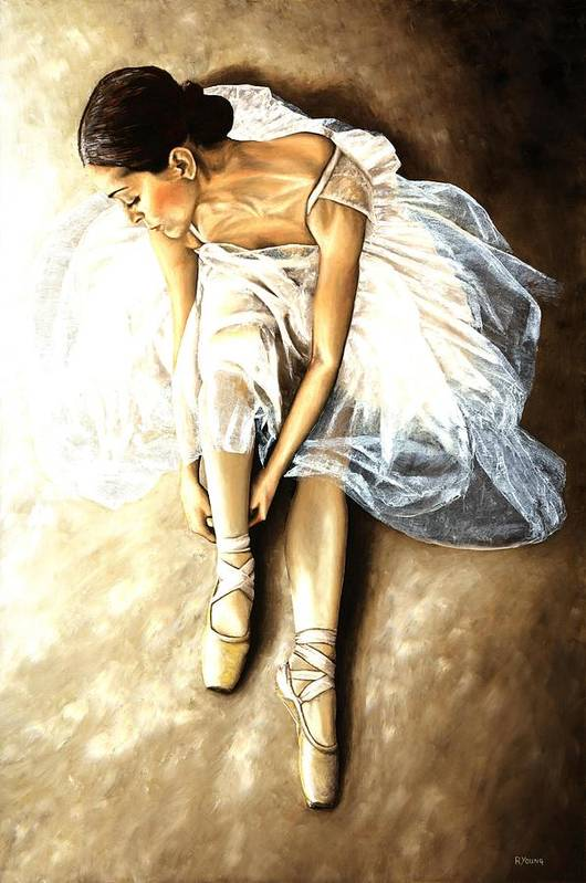 Ballet Art Print featuring the painting Tranquil Preparation by Richard Young