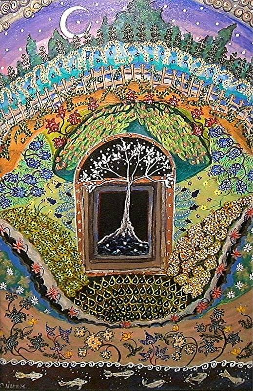 Tree Art Print featuring the painting Tree-moon-fish by Caroline Urbania Naeem