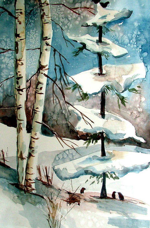Winter Art Print featuring the painting Tree Talkers by Mindy Newman