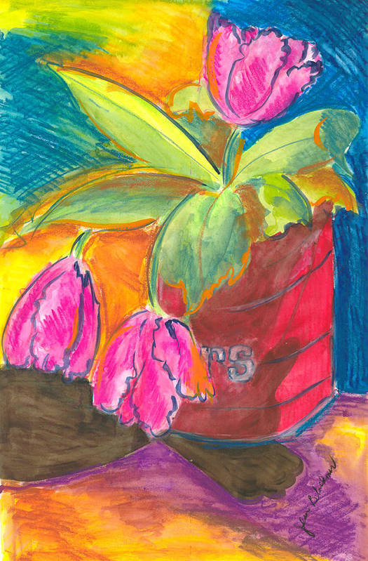 Flowers Art Print featuring the painting Tulips In Can by Jean Blackmer