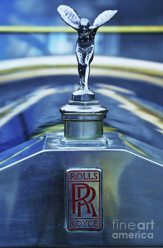 Rolls Royce Art Vintage Automobile Collectible Vision Iconic Image British Classic Automobile Home Decor Den Decor Antique Car Maam Cross Ireland Rare Find Image 1920's Vertical Vision Metal Frame Canvas Print Poster Print Wood Print Available On Greeting Cards Fathers Day Gift Art T Shirts Tote Bags Shower Curtains Mugs Spiral Note Books And Phone Cases Art Print featuring the photograph Collectible Logo And Emblem On A Vintage Rolls Royce by Poet's Eye