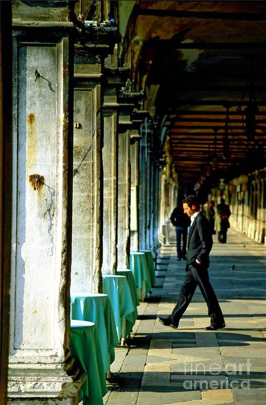 San Marco Art Print featuring the photograph Waiter Walking At San Marco In Venice by Michael Henderson
