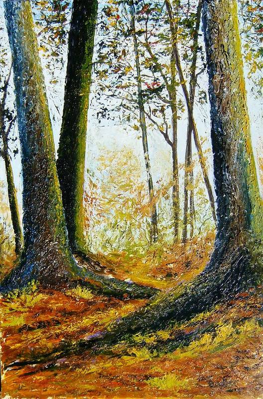Landscape Art Print featuring the painting Walk In The Woods by Tami Booher