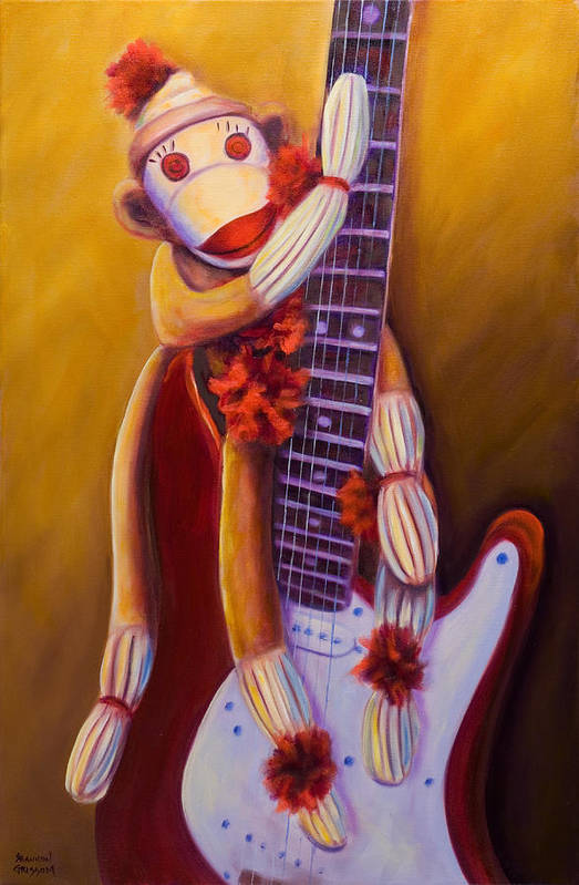 Monkey Art Print featuring the painting Wanna Be A Rocker by Shannon Grissom