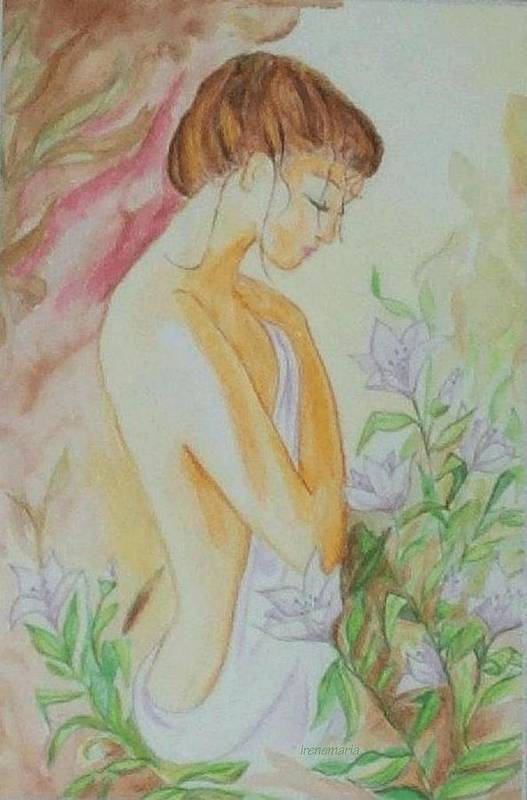 Lillies After The Bath Art Print featuring the painting White Lillies by Irenemaria Amoroso