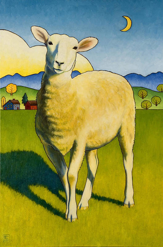 Sheep Art Print featuring the painting Who Are Ewe by Stacey Neumiller