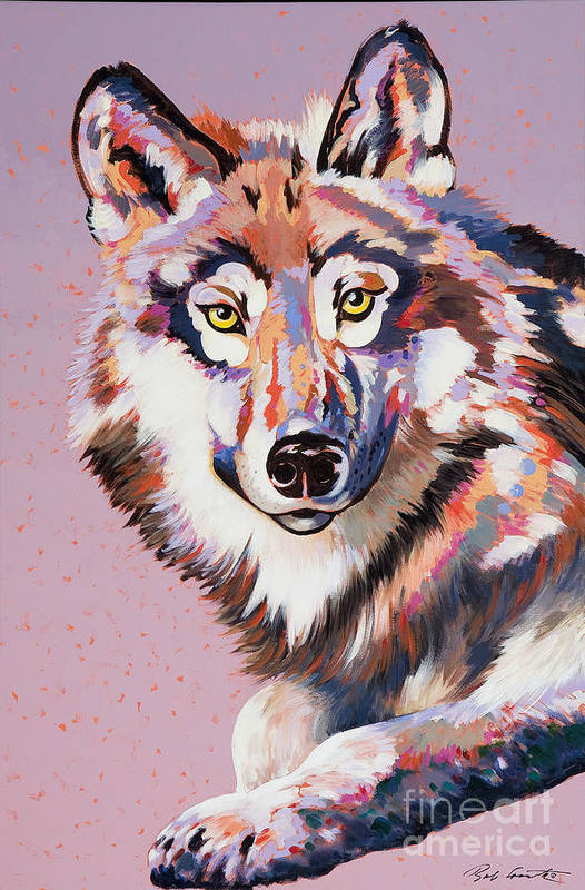 Wolf Painting Print featuring the painting With Intent by Bob Coonts