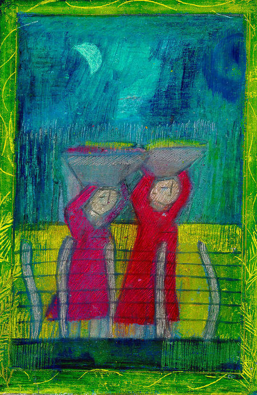 Mexican Art Print featuring the drawing Women Carrying Wash by Lydia L Kramer