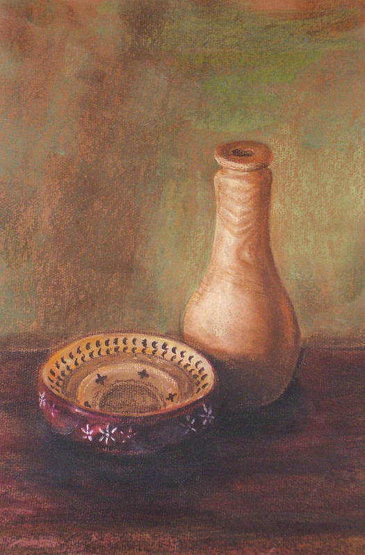 Still Life Art Print featuring the painting Wooden Vase by Srilata Ranganathan