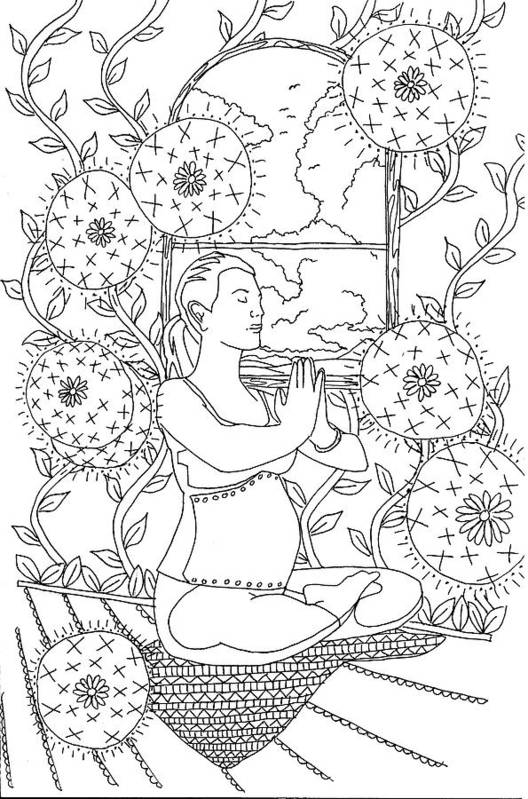 Line Drawing Art Print featuring the drawing Yoga by Kate Evans