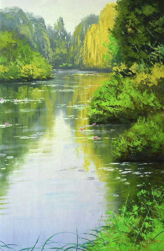 Rivers Art Print featuring the painting lily Pond reflections by Graham Gercken