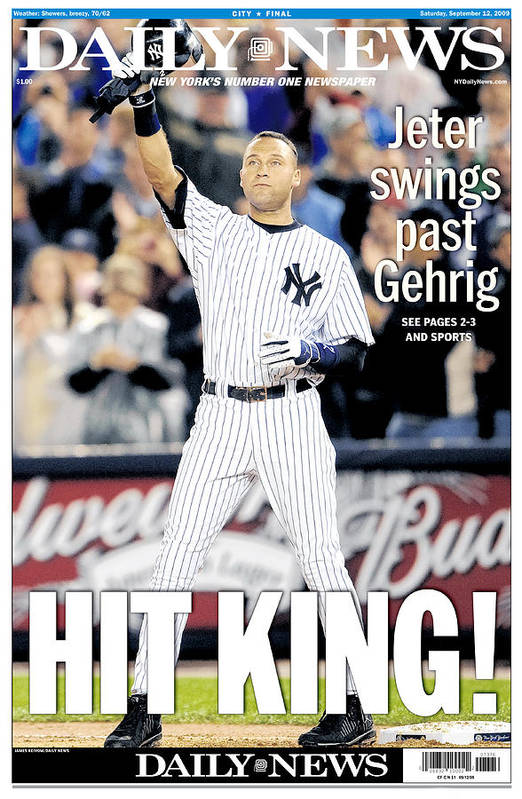 American League Baseball Art Print featuring the photograph Daily News September 12, 2009, Hit by New York Daily News Archive