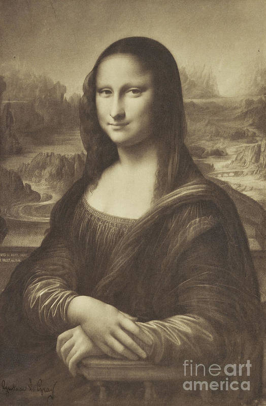 Mona Art Print featuring the photograph Drawing Of The Mona Lisa By Millet 1854-55 Albumen Silver Print by Gustave Le Gray