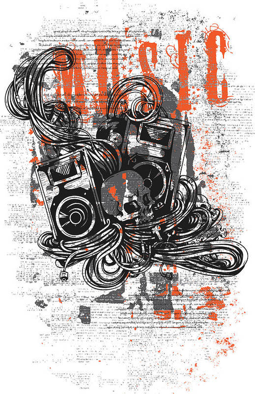 Skull Art Print featuring the digital art Music by Passion Loft