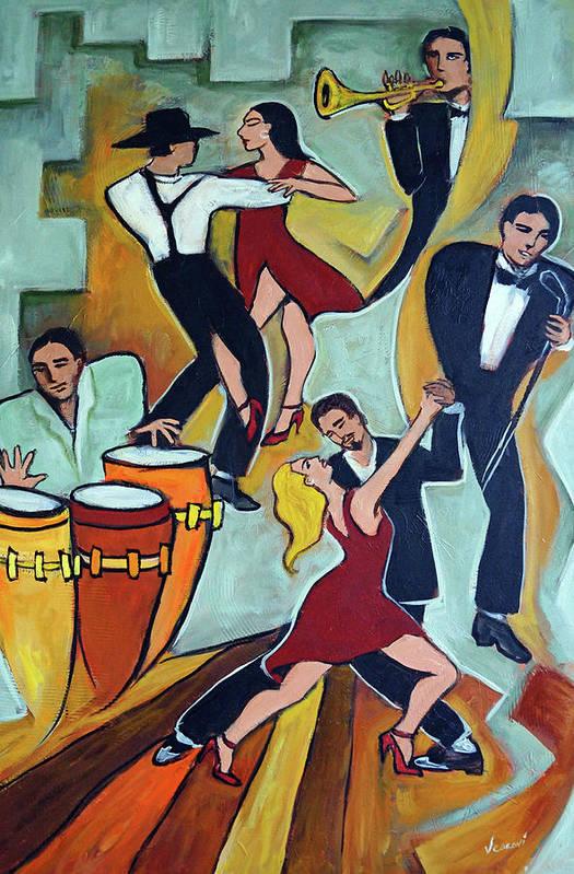Tango Art Print featuring the painting Tango Terroso 1 by Valerie Vescovi