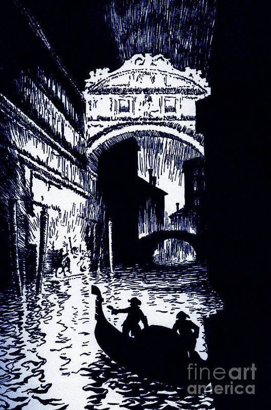 Gondola Art Print featuring the drawing The Assignation By Edgar Allan Poe by Arthur Rackham