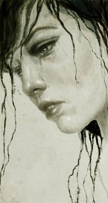 Woman Art Print featuring the digital art Melancholic by Diego Fernandez