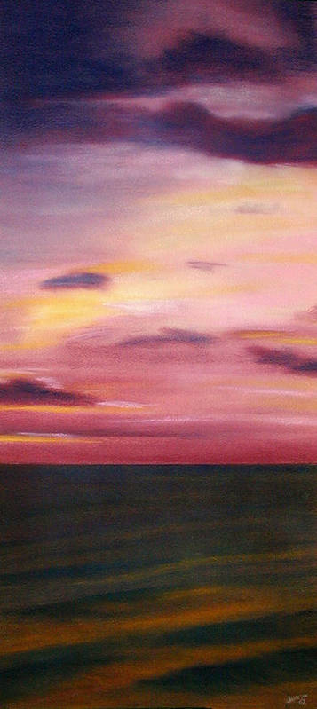 Sunrise Art Print featuring the painting Chesapeake Skyscape by Gary Jameson
