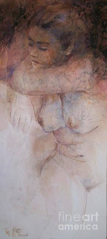 Figurative Art Print featuring the painting Seated Figure by Tina Siddiqui