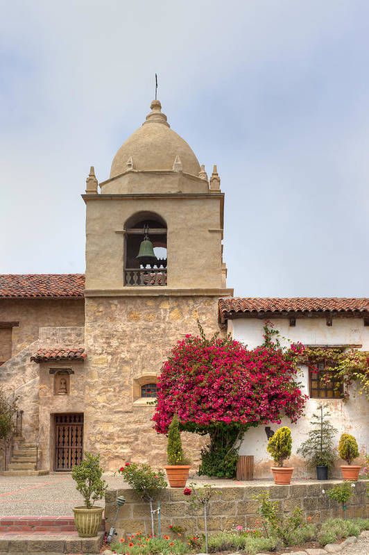 American Art Print featuring the photograph Facade Of The Chapel Mission San Carlos Borromeo De Carmelo by Ken Wolter