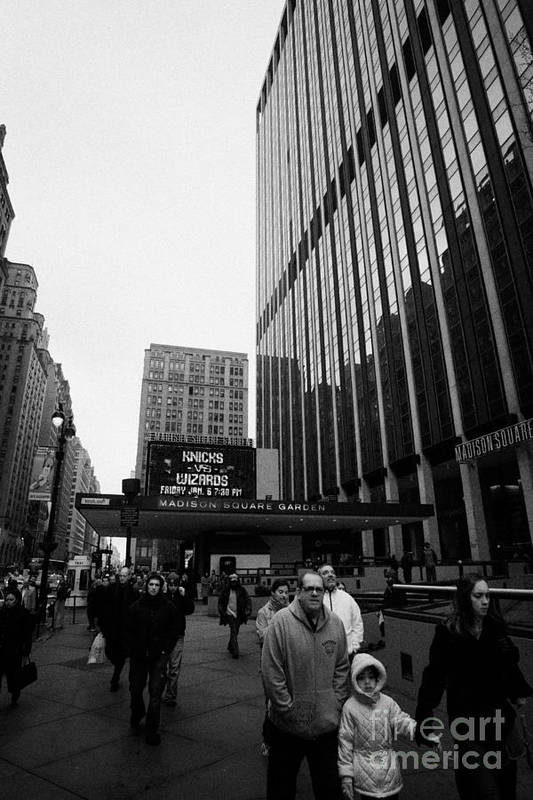 Usa Art Print featuring the photograph Outside Madison Square Garden New York City Winter Usa by Joe Fox