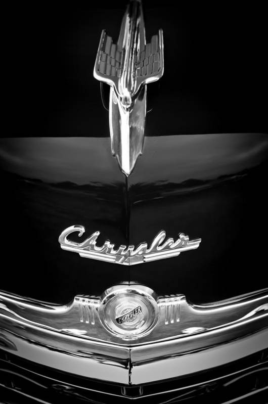 1949 Chrysler Town And Country Convertible Hood Ornament And Emblems Art Print featuring the photograph 1949 Chrysler Town And Country Convertible Hood Ornament And Emblems by Jill Reger