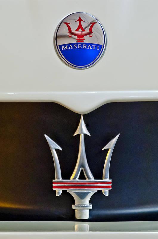 2005 Maserati Mc 12 Art Print featuring the photograph 2005 Maserati Mc12 Hood Emblem by Jill Reger