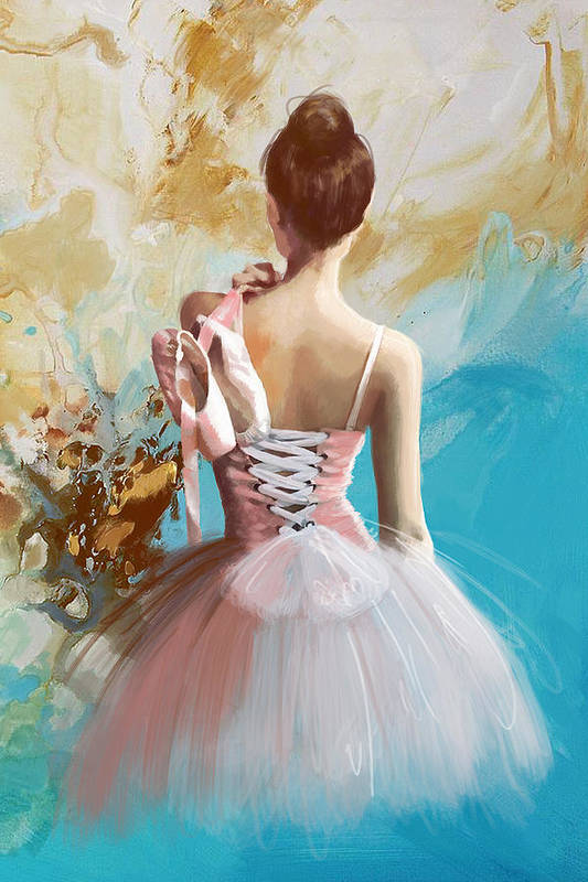 Women Art Print featuring the painting Ballerina's Back by Corporate Art Task Force
